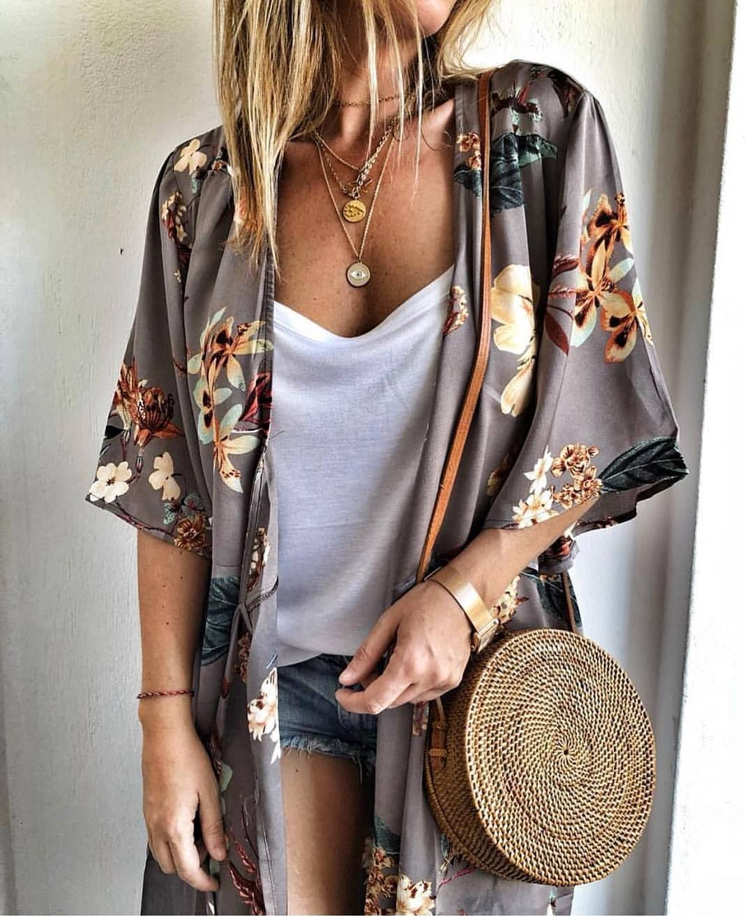 Silken Kimono In Grey Florals For Summer Boho Parties 2019