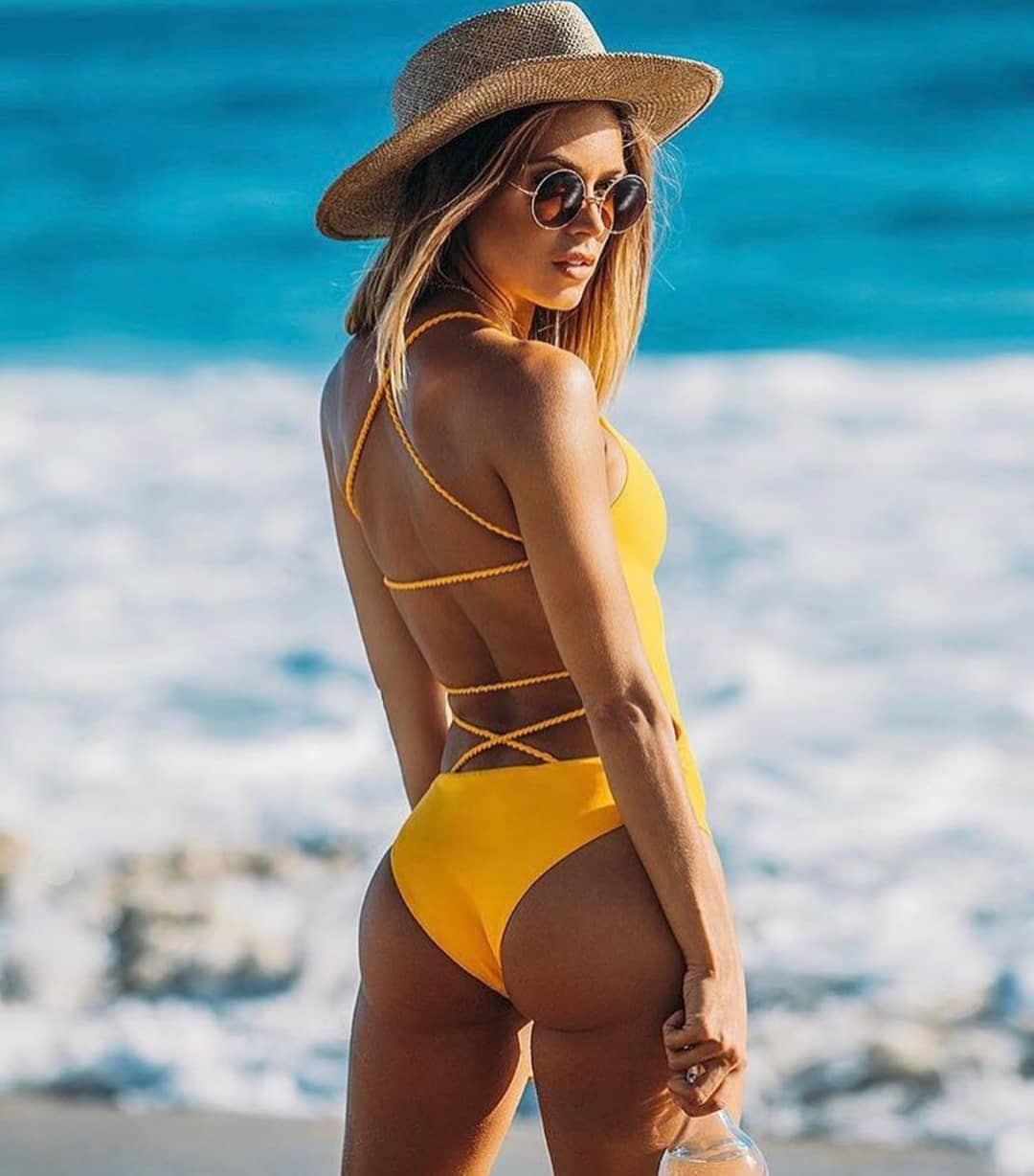 Yellow One Piece Swimsuit With A Strappy Back For Summer 2019