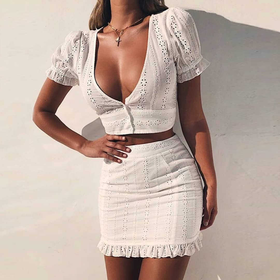 Bohemian White Two Piece Perforated Dress For Summer 2019
