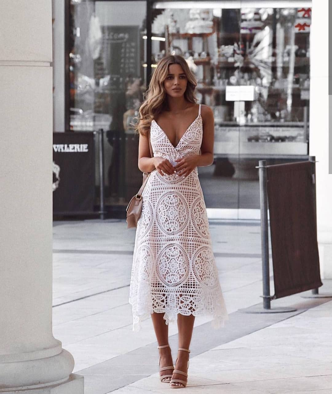 Boho Inspired White Crochet Midi Dress For Summer 2019