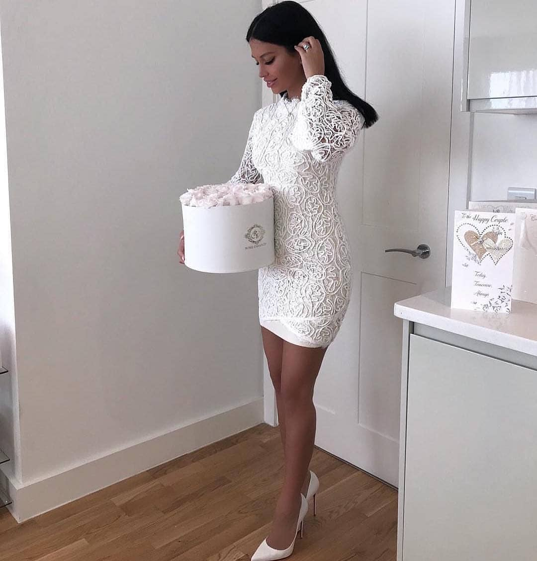 All White Look For Summer: White Lace Dress And White Pumps 2020
