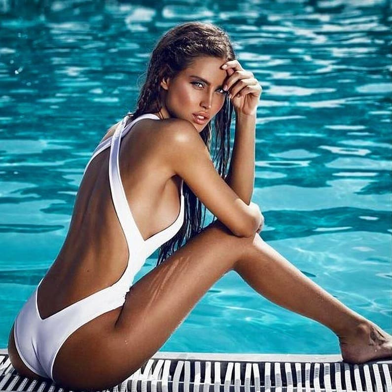 White Swimsuit With Criss-Cross Open Back For Summer Getaway 2019