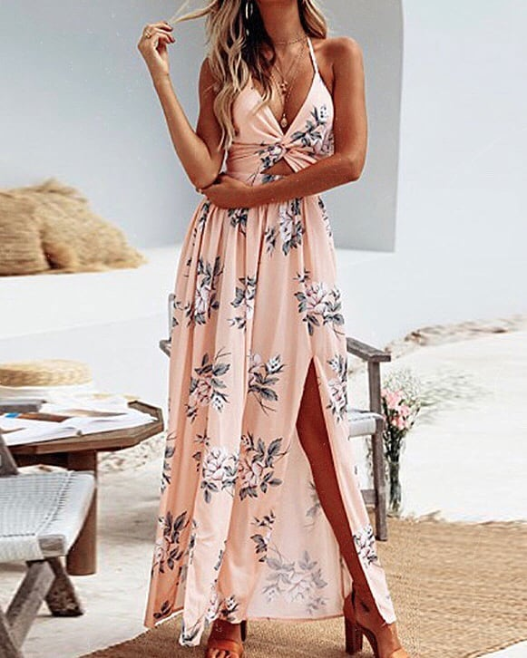 Must Try Floral Blush Long Dress For Summer 2019