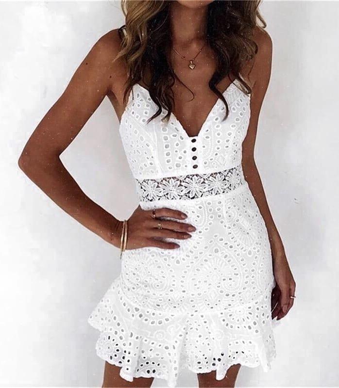 Spaghetti Strap Crochet Dress In White For Summer 2019