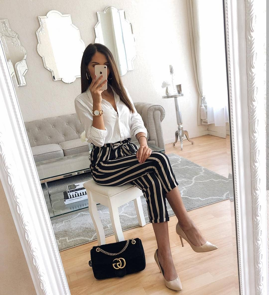White Shirt, Black-White Striped Pants For Summer Work 2019