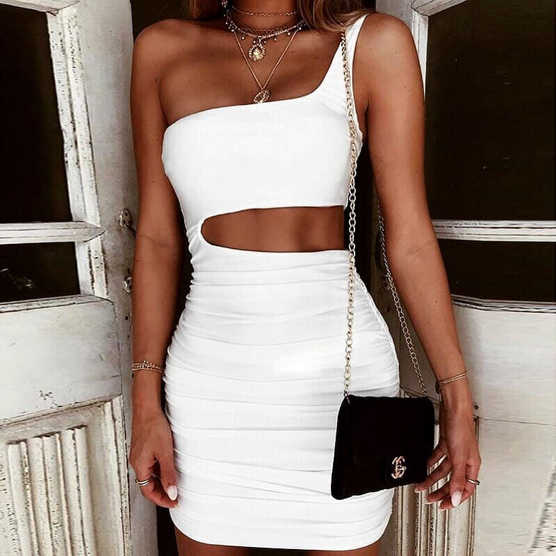 White One Strap Dress With Side Cut-out For Summer Cocktail Parties 2019