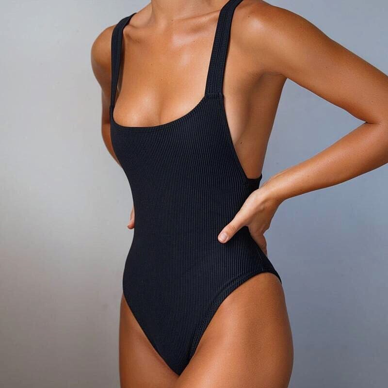 Black One Piece Swimsuit For Summer Vacay 2021
