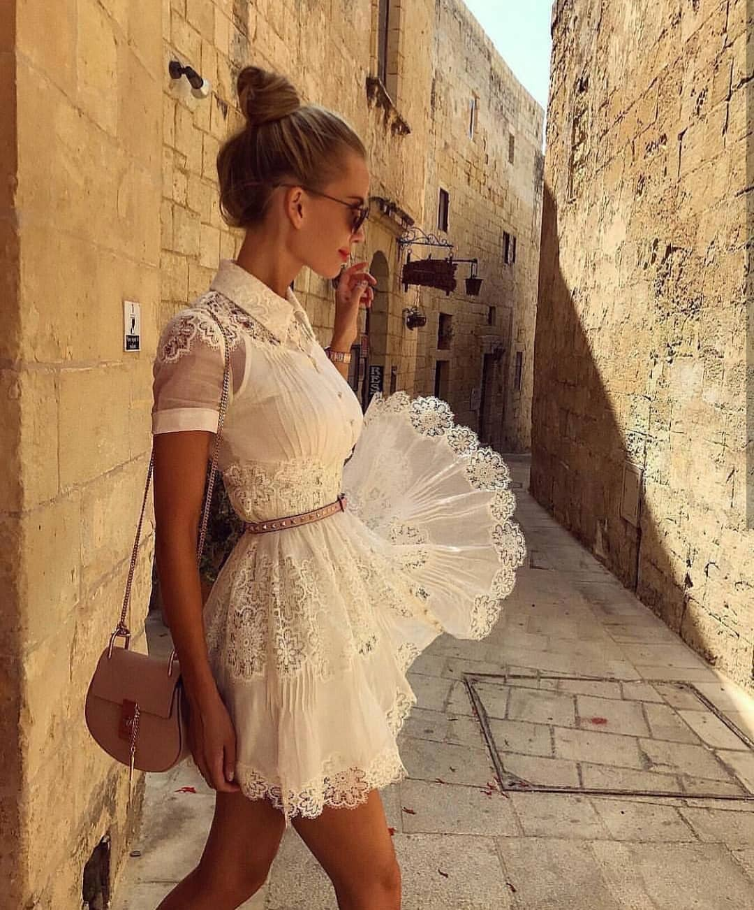 White Short Lace Shirtdress For Summer Vacation 2020