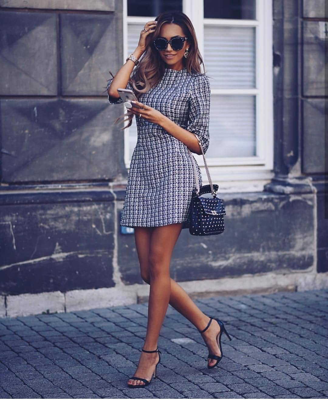 1/2 Sleeve Houndstooth Dress For Summer 2019