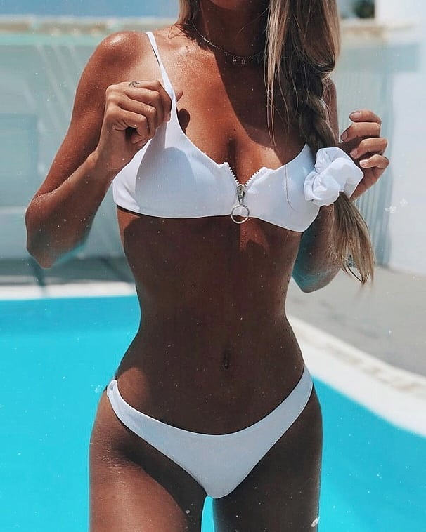 Bright White Front Zipper Bikini For Summer Vacation 2019