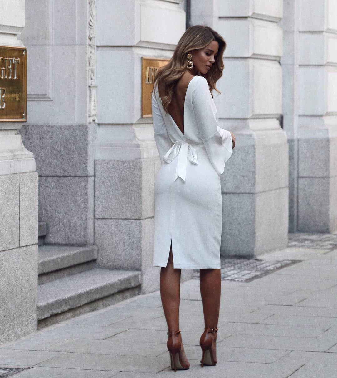 Open V-back White Pencil Dress With Bell Sleeves For Summer 2019
