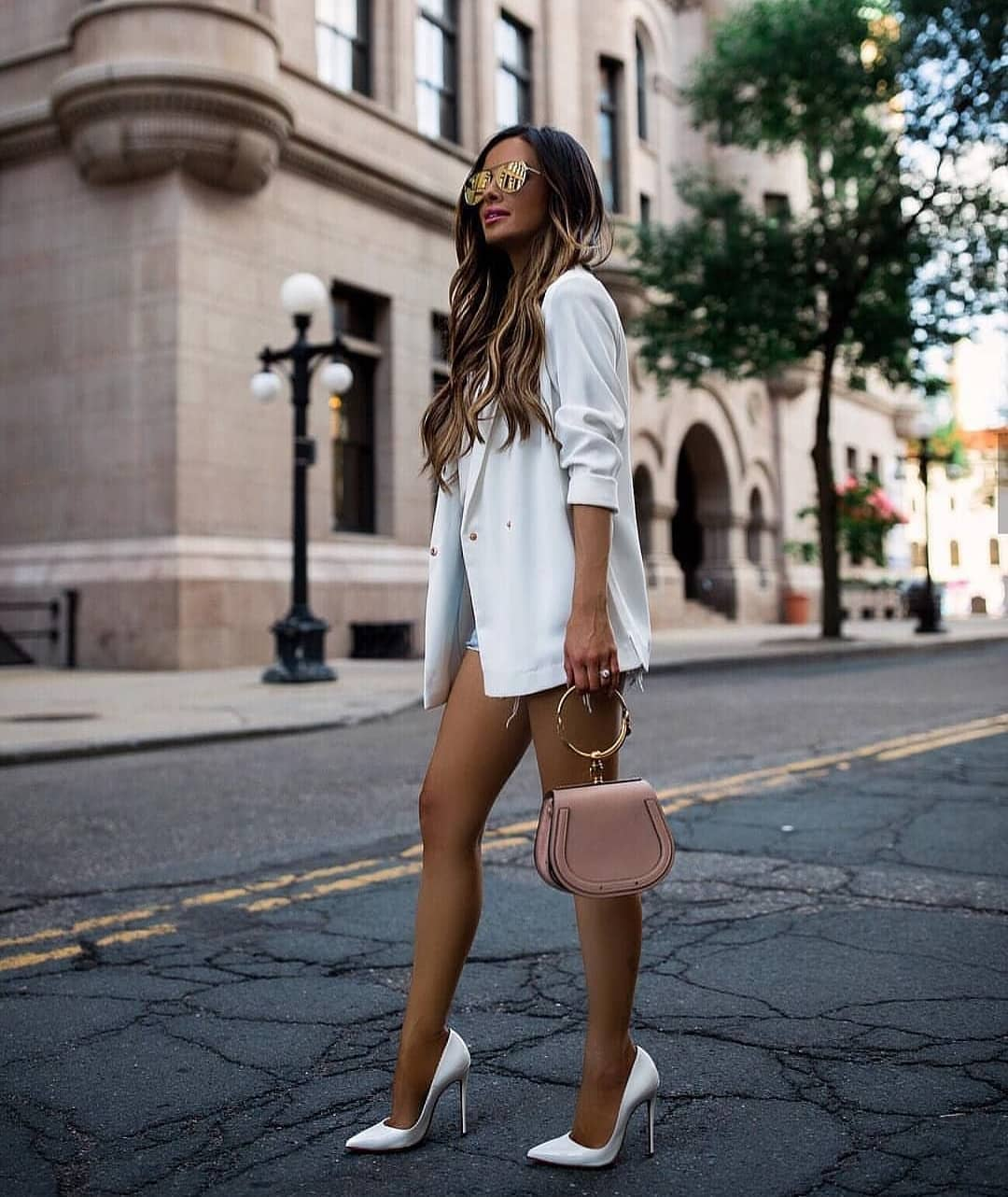 Long Blazer In White And White Heels For Summer 2019