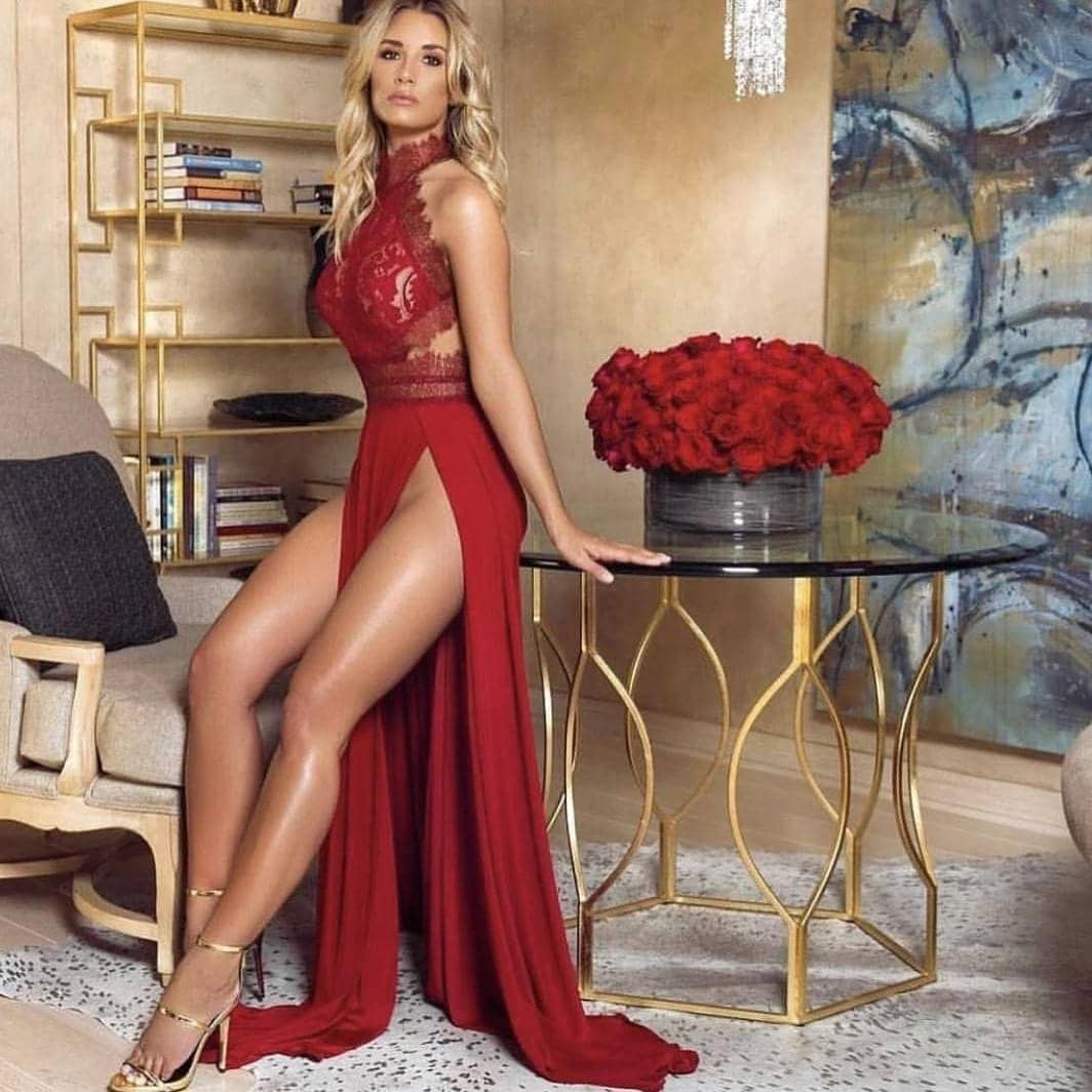Sultry Cherry Red Maxi Dress With Lace Bodice 2019
