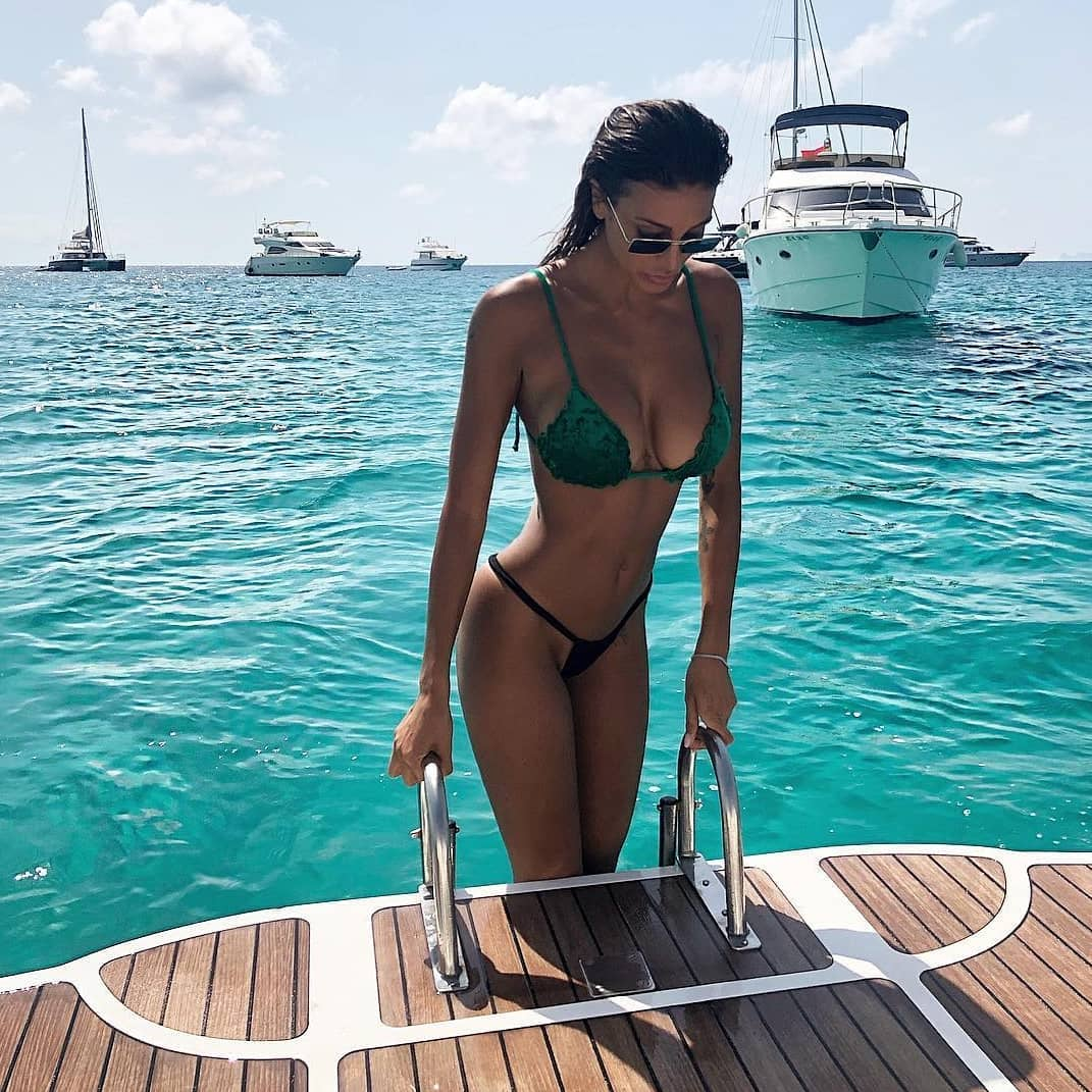 Green Velour Bikini for Summer Boat Trip Parties 2021
