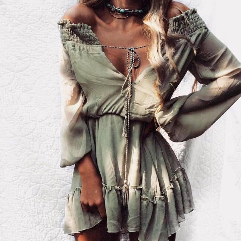 Khaki Olive Off-Shoulder Boho Dress With Deep V-Neck And Long Sleeves For Summer 2019