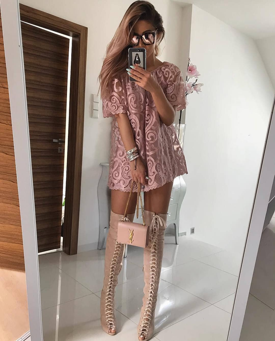 Blush Jacquard Mini T-Dress And Lace-Up OTK Boots For Summer 2019