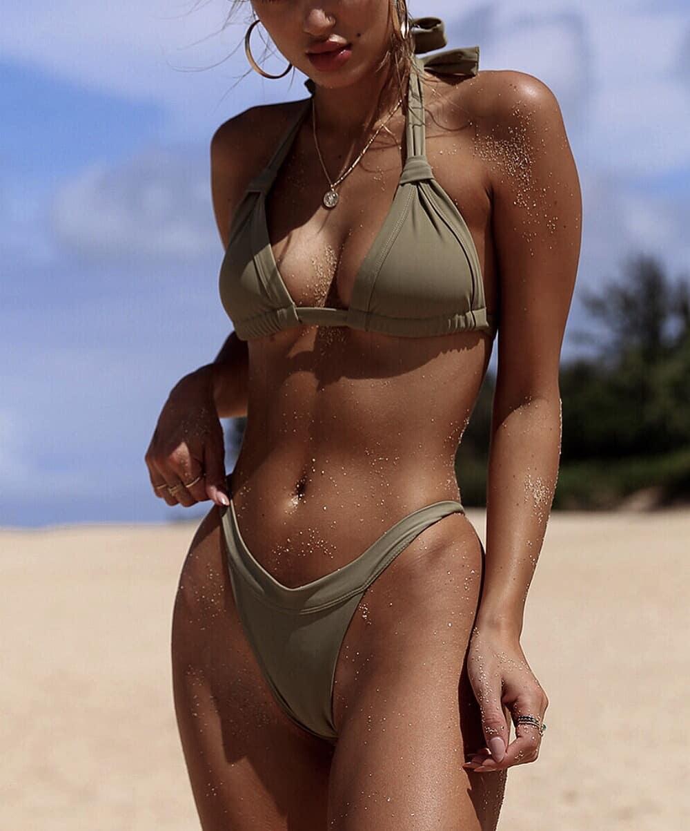 Khaki Green Bikini Set For Summer Getaway Trips 2020