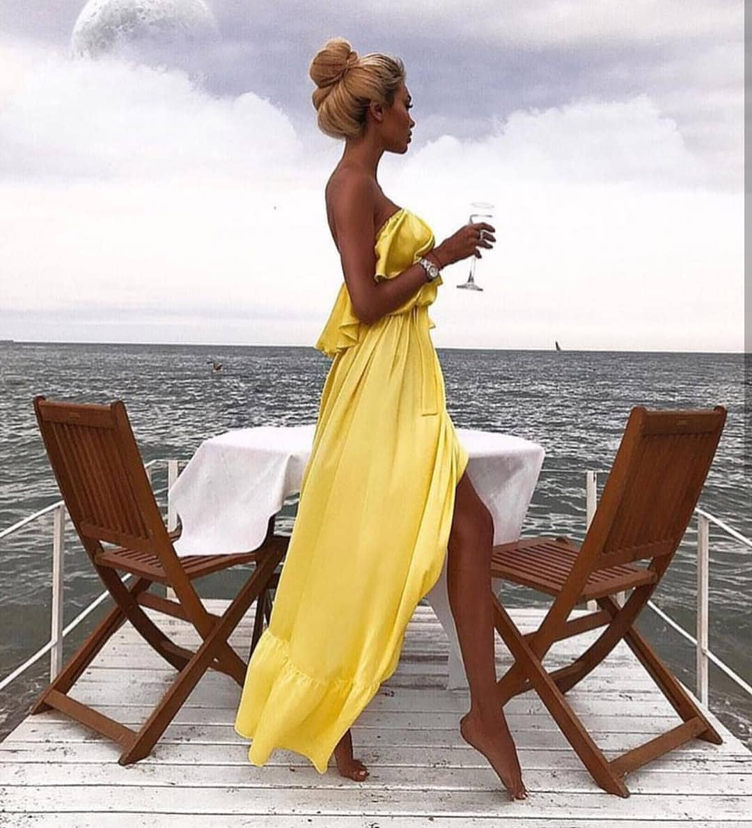 Strapless Yellow Maxi Dress For Boat Trips 2021