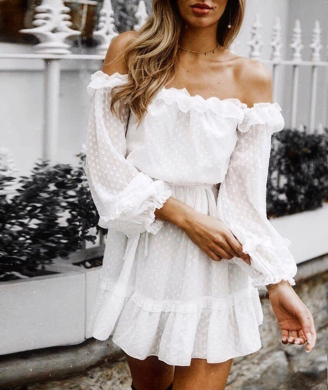 Strapless Peasant White Dress With Long Sleeves For Casual Summer Trips 2019
