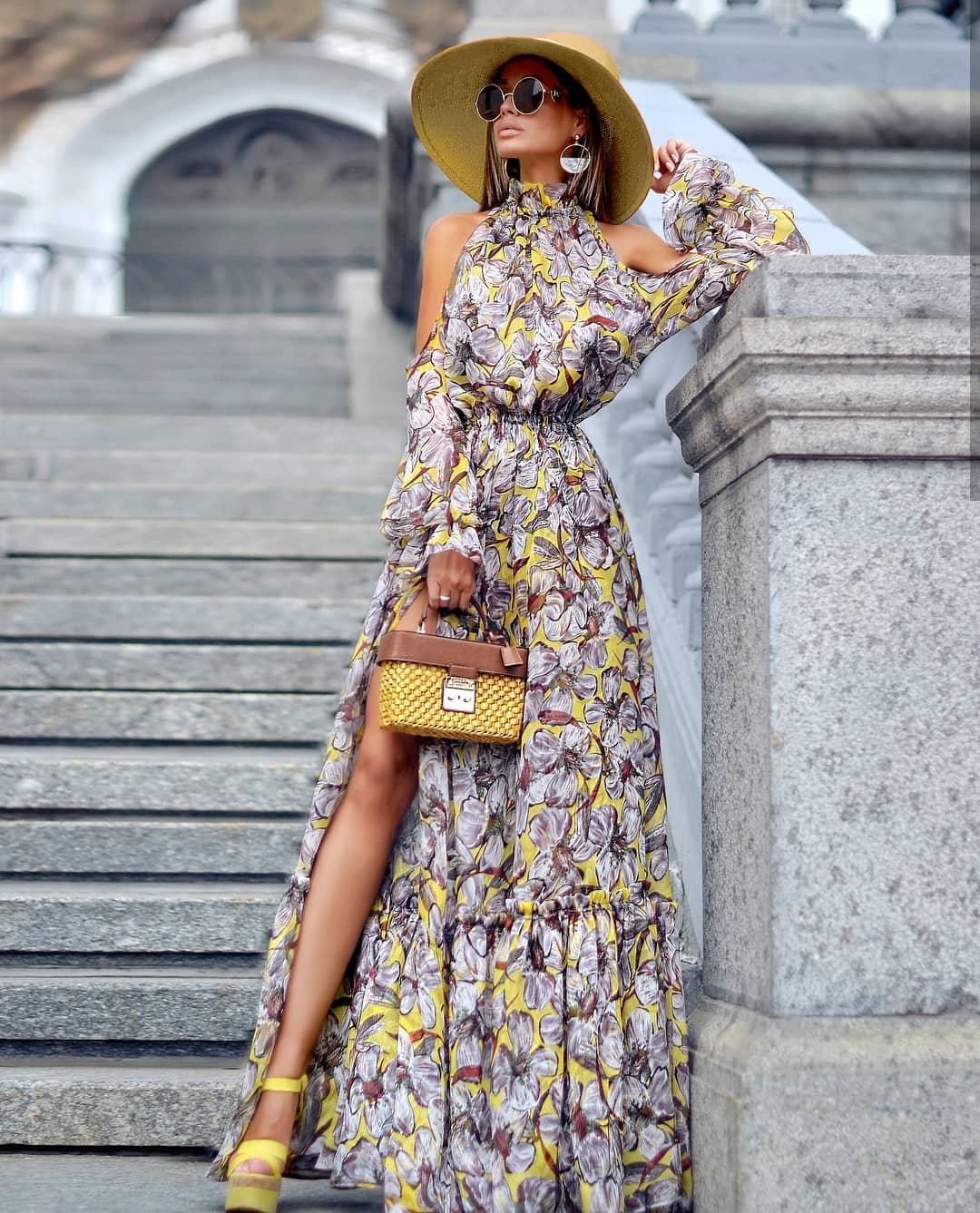 Cold Shoulder Maxi Gown In Floral Print For Summer 2019