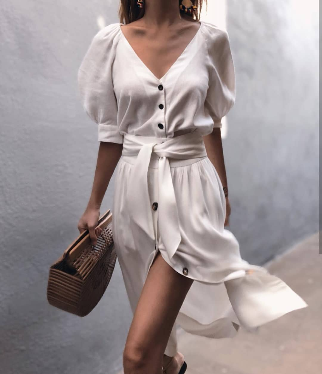 Belted Shirtdress In White Color For Summer 2019