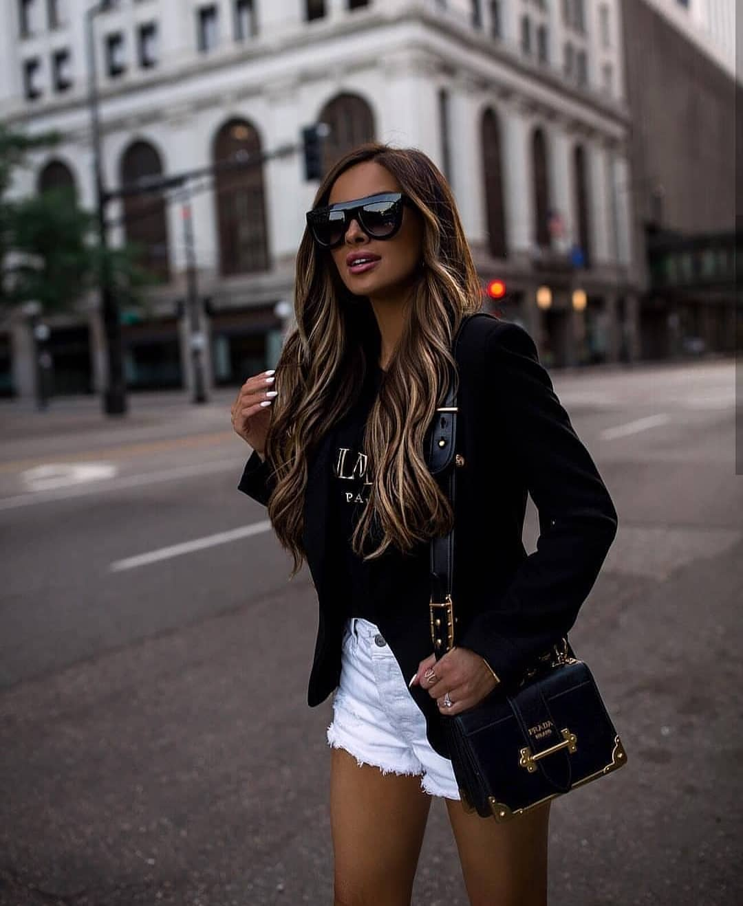 Black Blazer, White Denim Shorts For Summer 2019