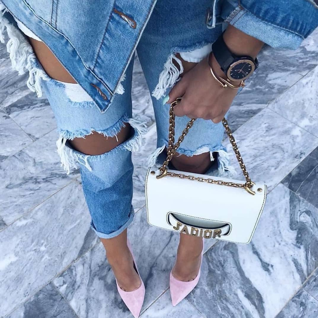 Double Denim And Blush Heels For Summer 2019
