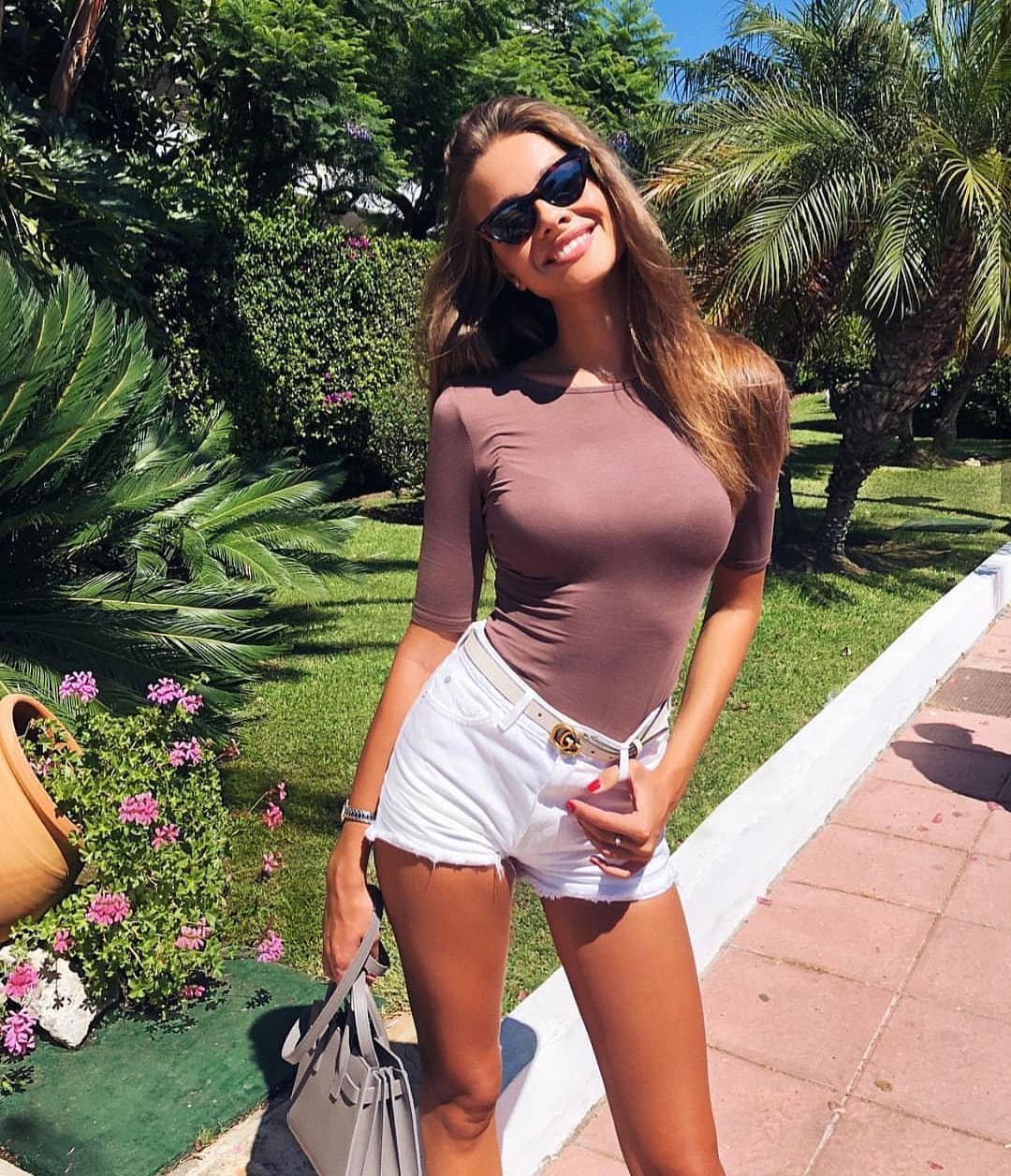 Pastel Violet Bodysuit And White Denim Shorts For Summer Vacation 2020