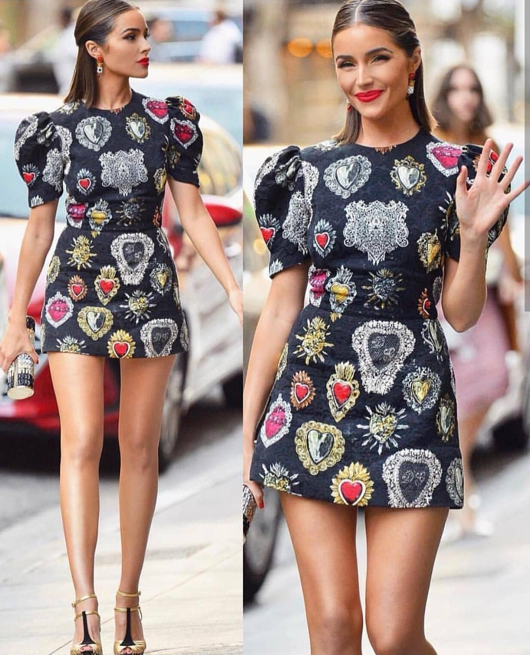 Short Puff Sleeve Black Printed Mini Dress For Summer 2021