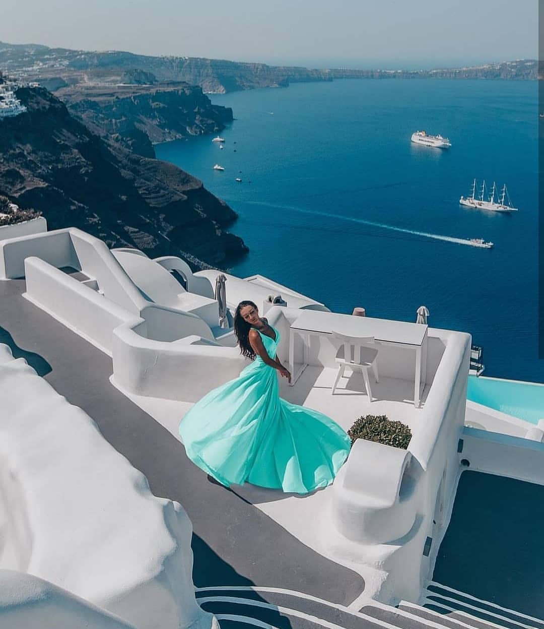 Neon Turquoise Maxi Gown For Santorini Trip 2019