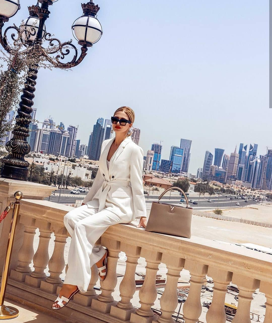 White Pantsuit With Wide Leg Pants For Summer 2019