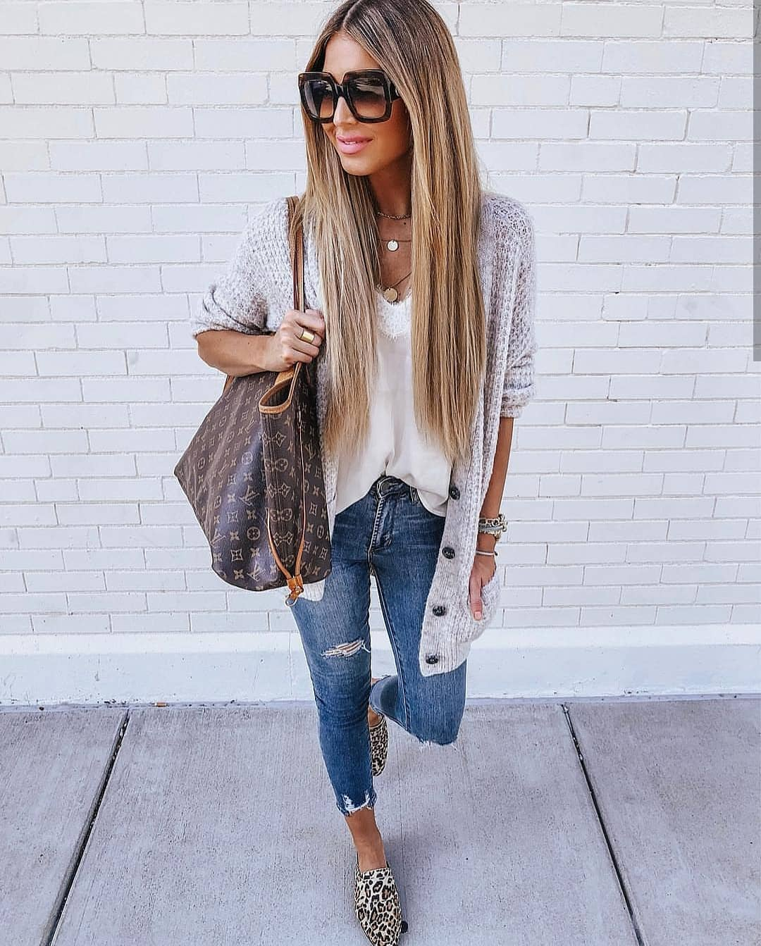Lightweight Long Cardigan With White Slip Tank Top And Jeans  For Summer 2021