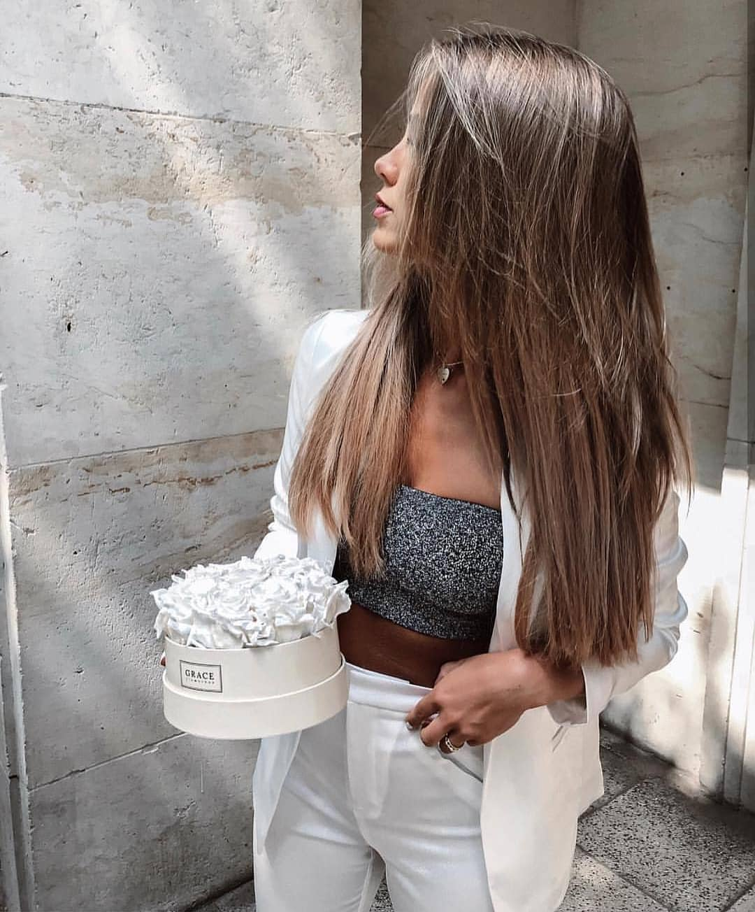 Bandeau Top And White Pantsuit For Summer 2019