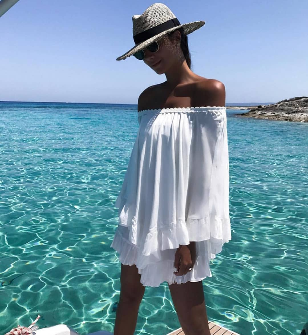 Off Shoulder White Tunic Dress With Pleated Ruffles For Summer Boat Trip 2021