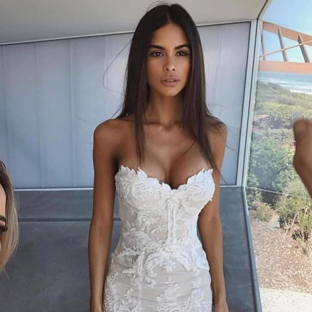White Strapless Bridal Gown With Lace Detailing For Summer 2020