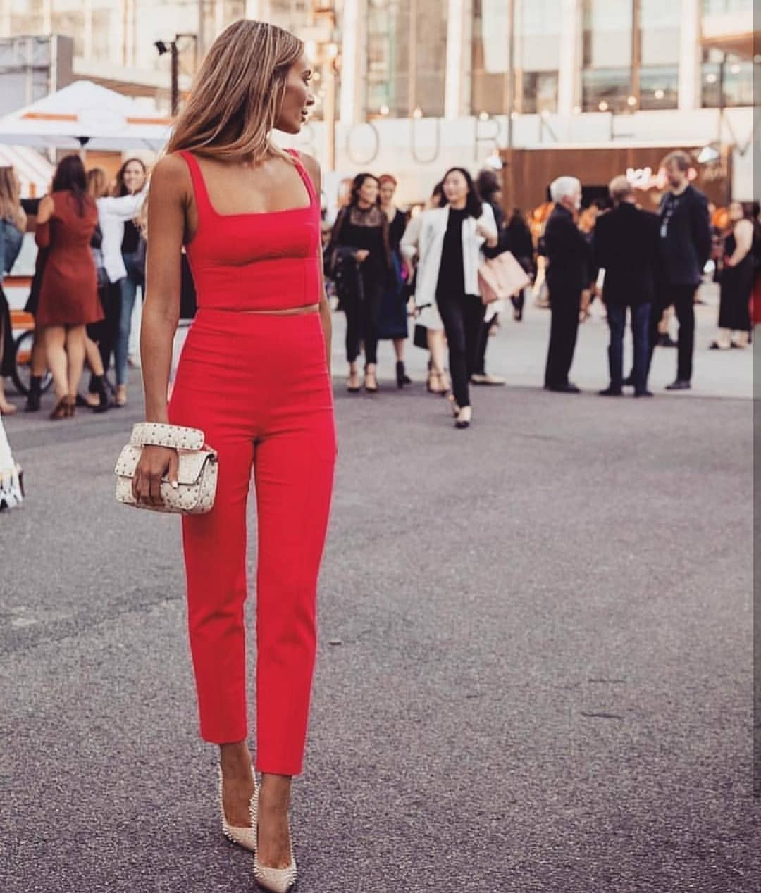 Two Piece Red Jumpsuit For Italian Summer Street Walks 2020