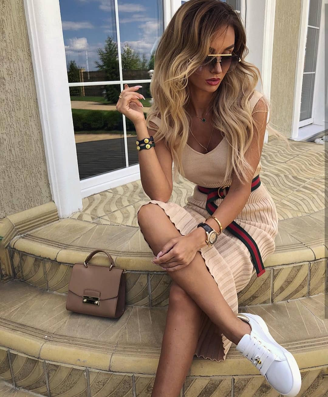 Beige Knitted Tank Dress With A Belt And White Sneakers For Summer 2021