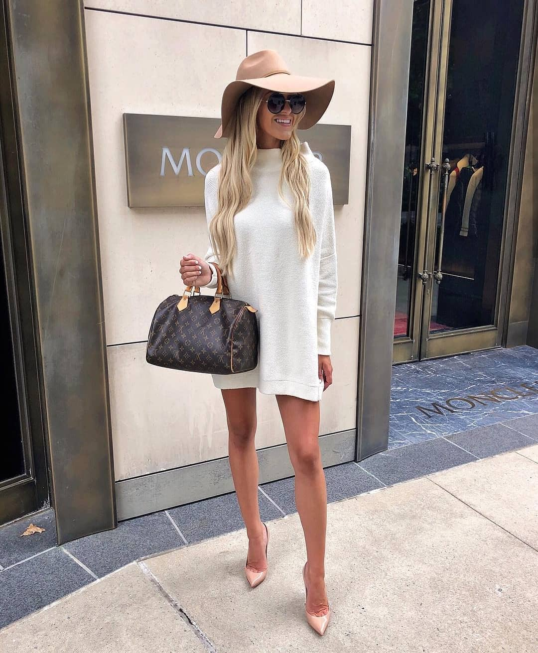 White Sweater Dress With Camel Floppy Hat And Nude Heels For Spring 2020