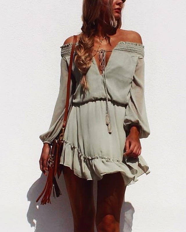 a1e93e945790 Off Shoulder Chiffon V-neck Dress In Pastel Khaki For Summer Boho Lovers