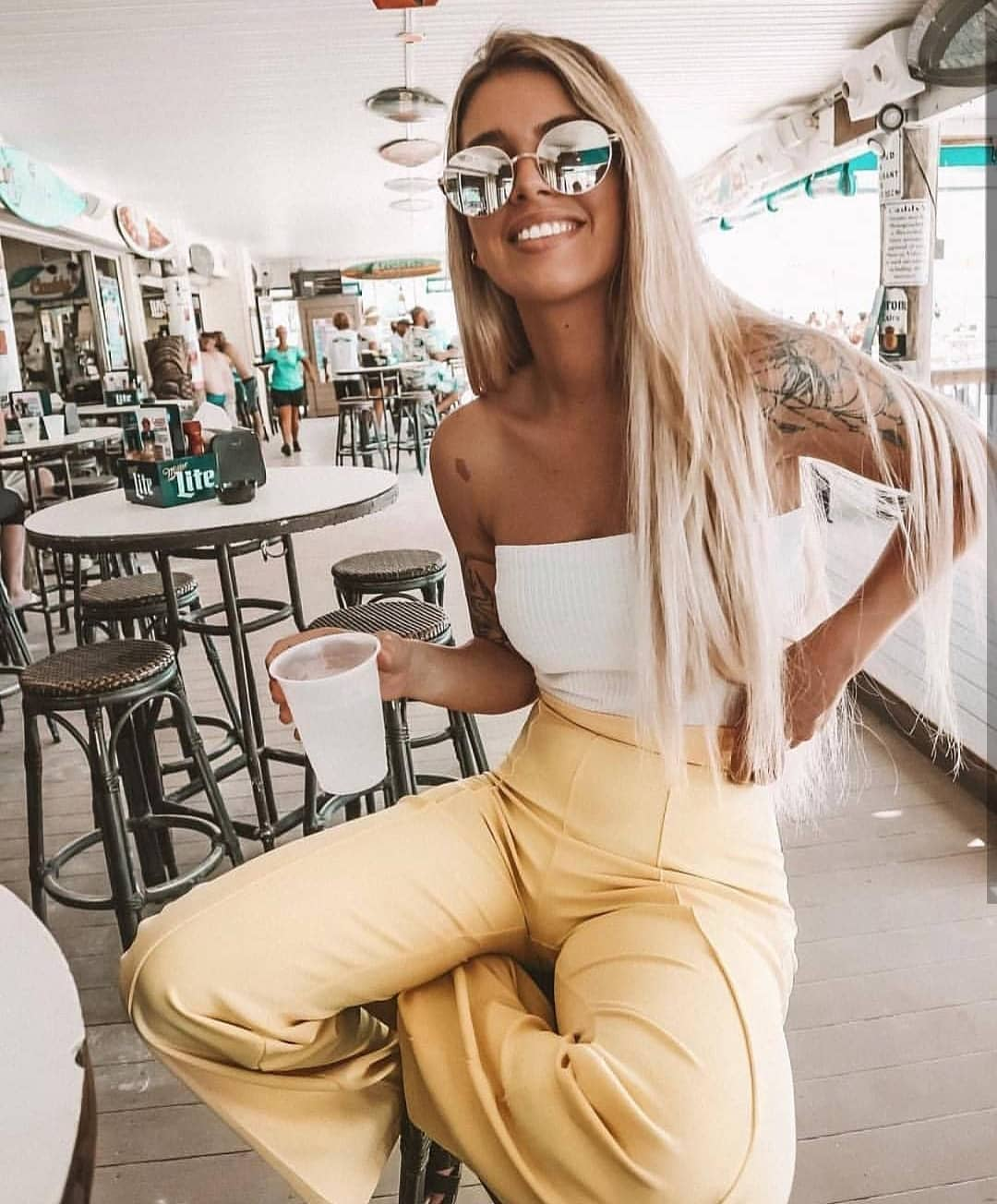 High Rise Pastel Yellow Pants And White Strapless Top For Summer 2019