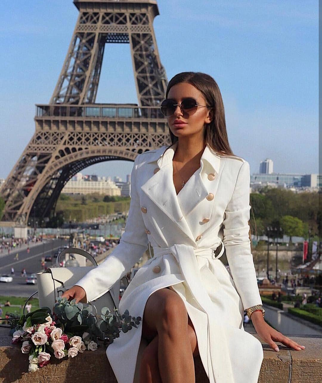 Belted Trench Coat With Gold Buttons In White For Spring In Paris 2019