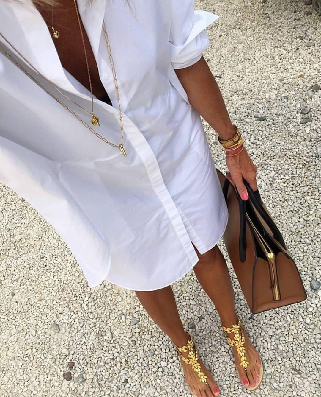 How To Style White Shirtdress With Gold Floral Thong Sandals This Summer 2021