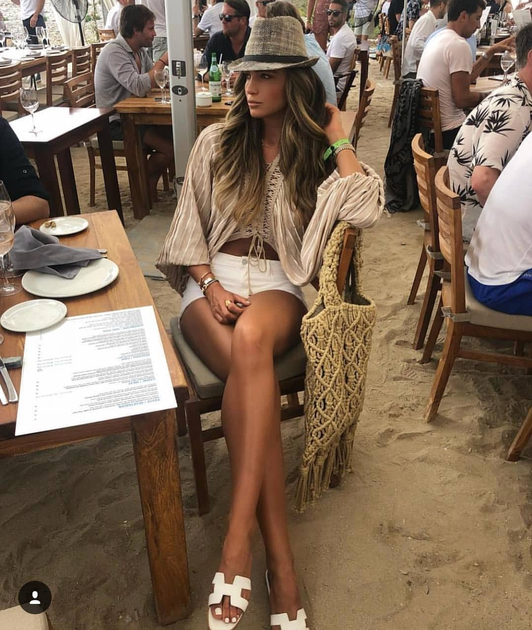Loose Sleeve Linen Blouse With White Shorts And White Slides For Summer 2020