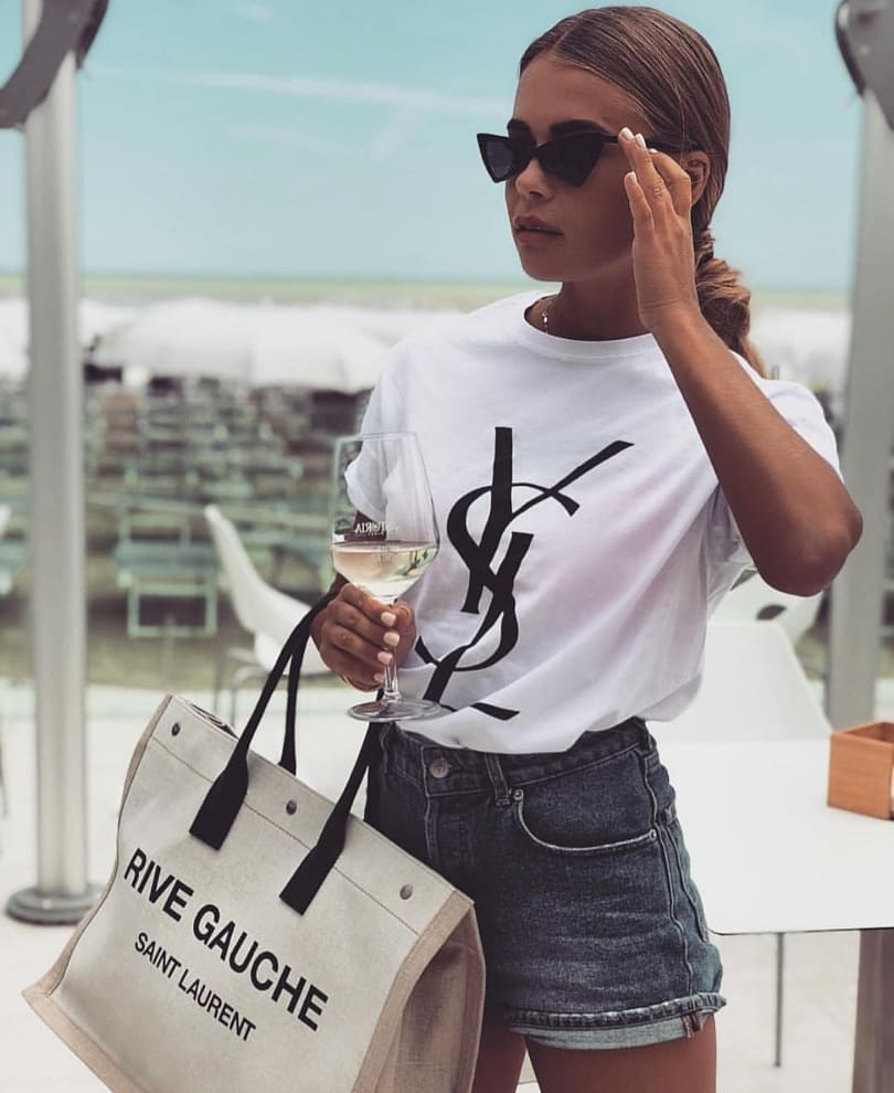 White Tee And Denim Shorts For Summer Beach Party 2020