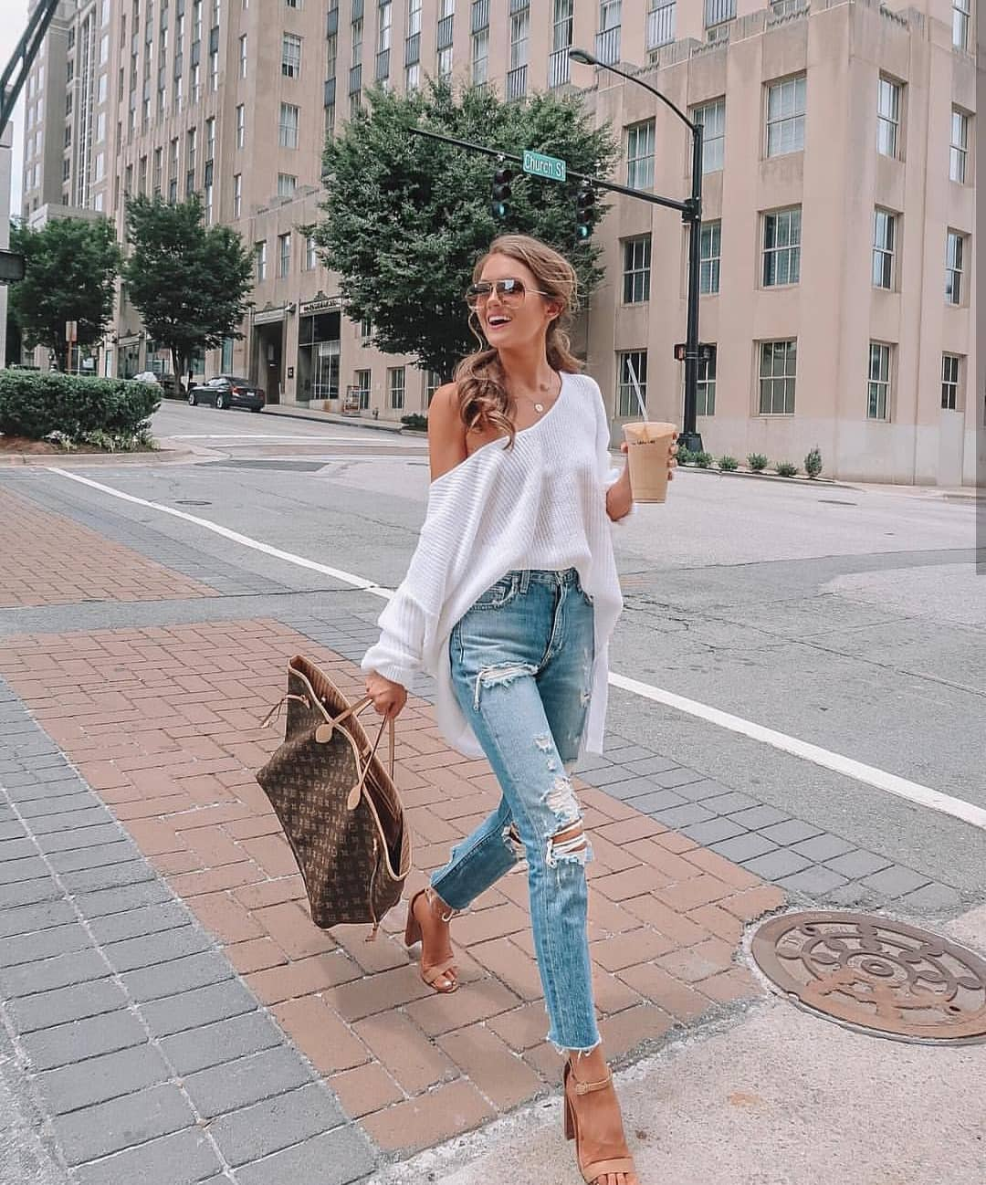 One Shoulder Oversized White Sweater With Ripped Wash Blue Jeans For Summer 2019