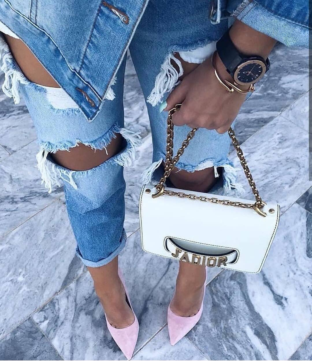 Double Denim Look Updated With Pastel Pink Pumps For Summer 2019
