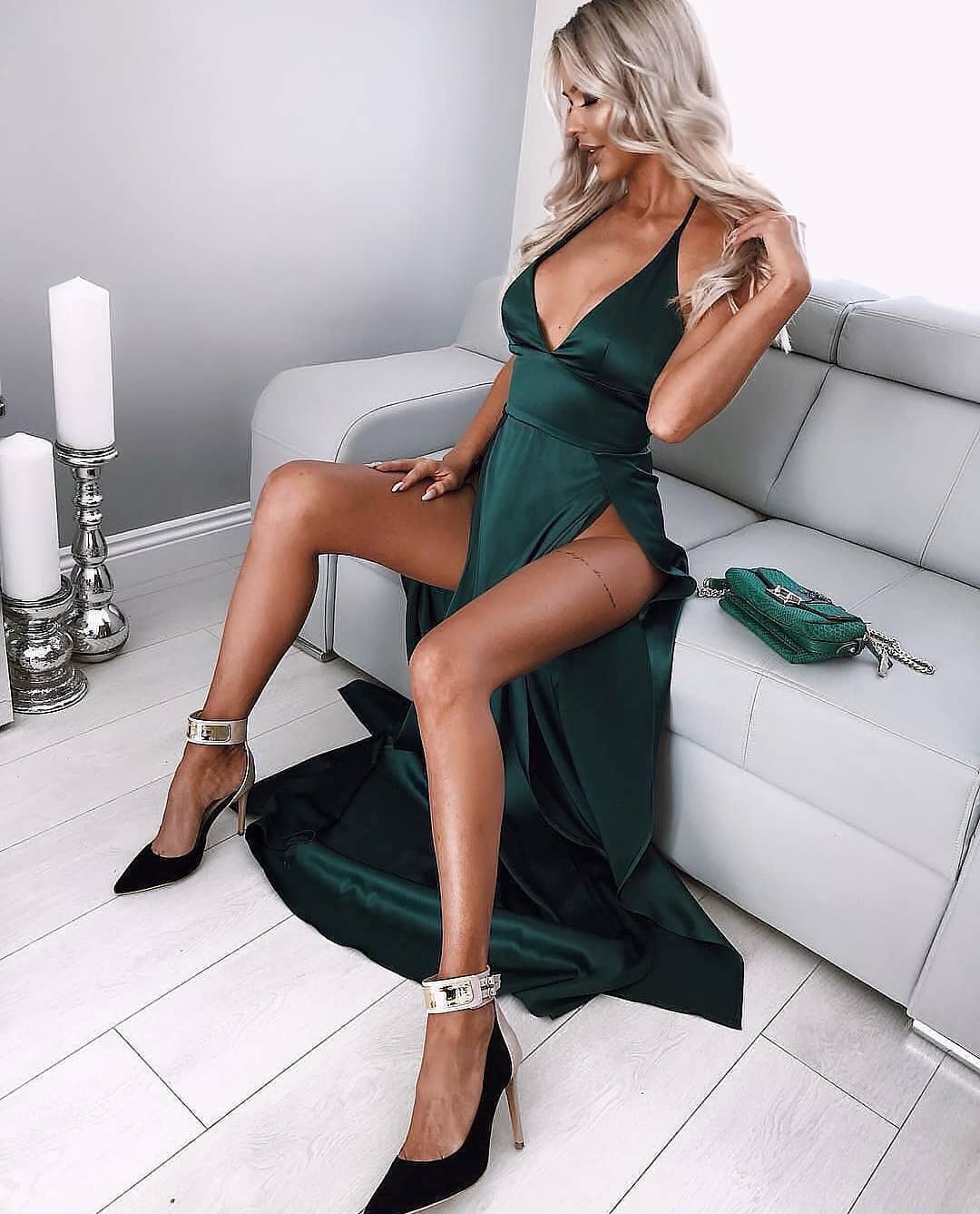 Shiny Emerald Green Maxi Gown With High Slits For Summer 2019