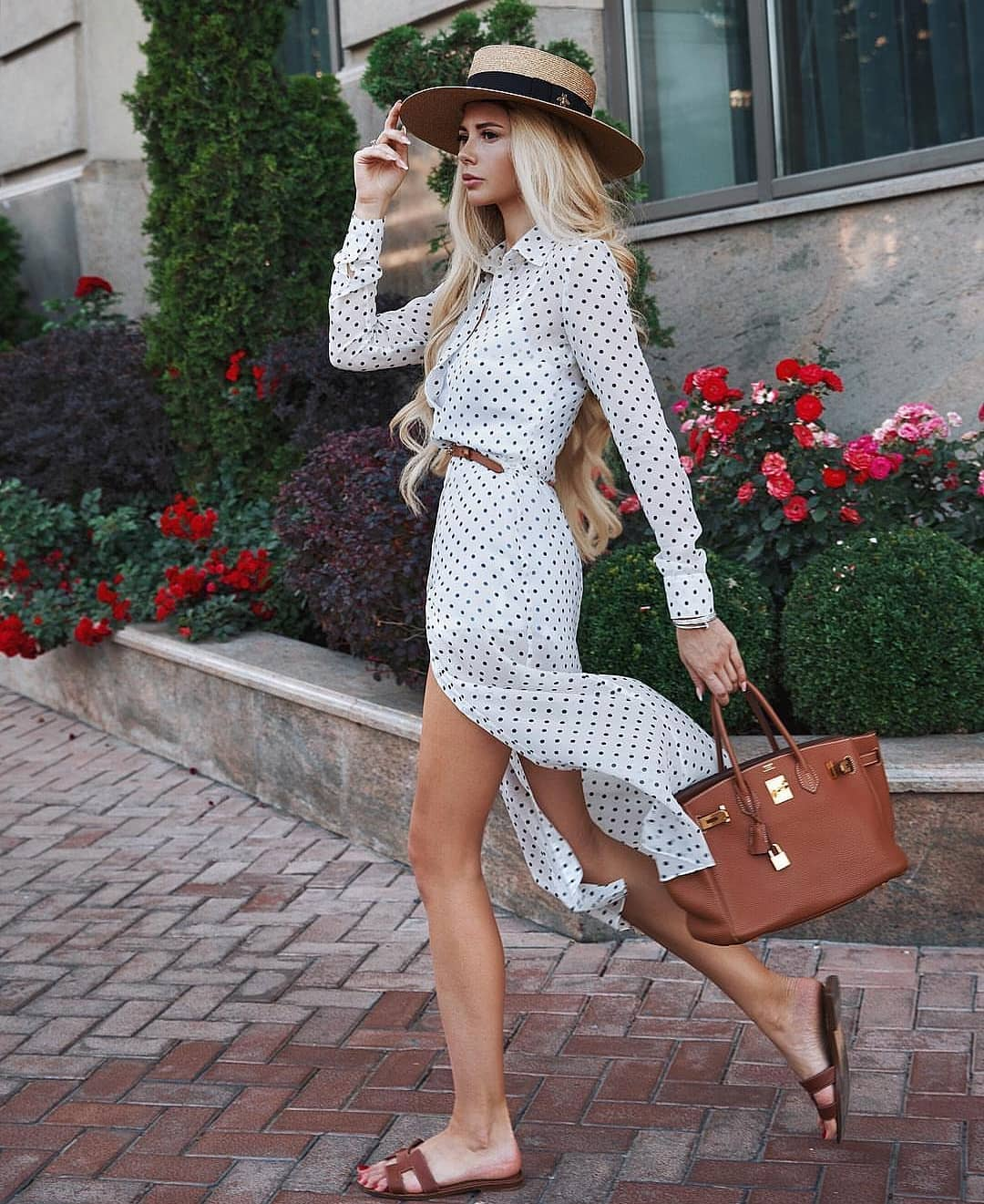 Retro Style White Shirtdress In Black Dots For Summer 2019