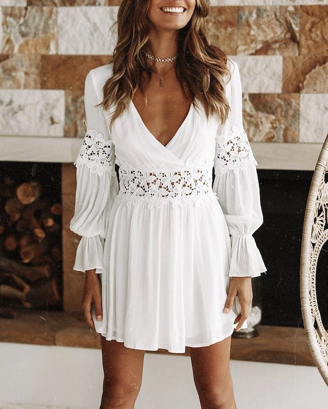 White Dress With Long Sleeves For Bohemian Lovers 2019