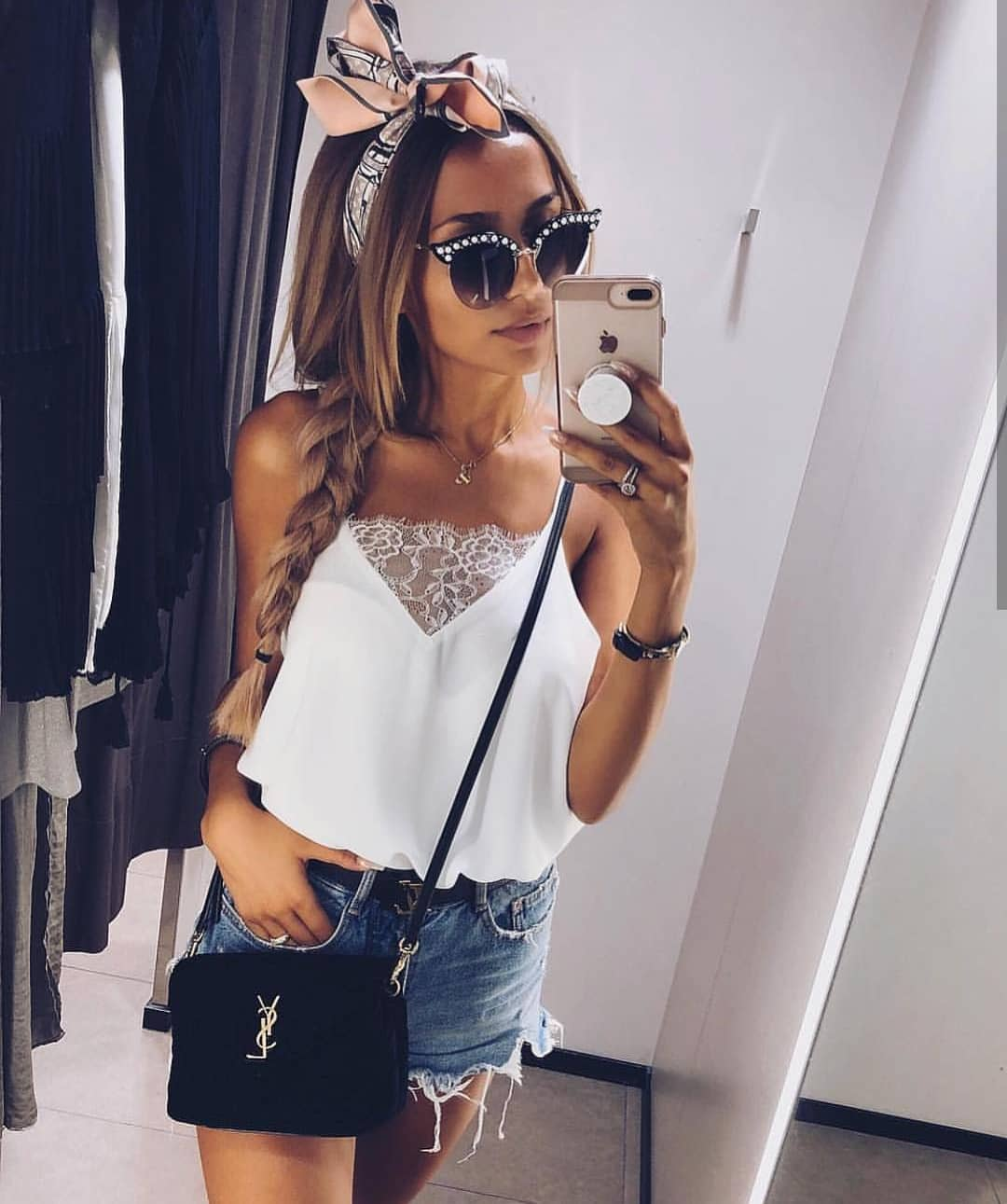 White Sliptank With Lace Neck Detailing And Blue Frayed Denim Mini Skirt 2020